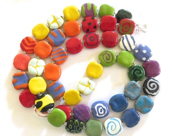 Kazuri Bead Necklace, Rainbow Colored Necklace, Fair Trade Beads, Ceramic Jewelry