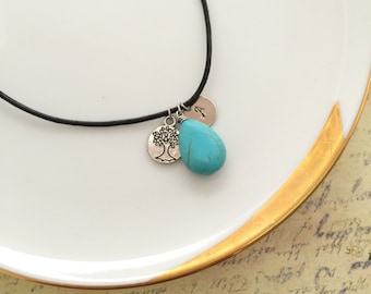 Turquoise Stone, Tree Charm, Initial Necklace. Handstamped Necklace, Choker Necklace, Best friend Gift, Leather Necklace