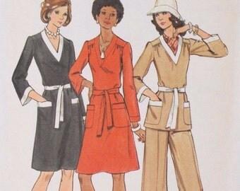 70s Vintage Butterick 3202 Sewing Pattern Dress Tunic Pants Size 14 Bust 36 Uncut FF