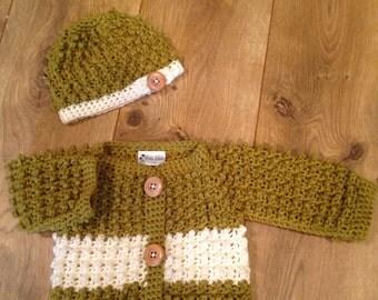 Baby Sweater Set - Lichen Green Stripe