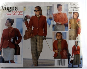 Vogue 2518, Misses' Jacket, Top, Skirt and Pants, Career Wardrobe, Sewing Pattern, Misses' Size 6, 8, 10, Uncut Pattern
