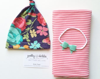 Baby girl swaddle blanket, hat, and headband set, stripe and floral butterflies