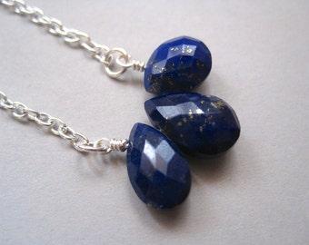 Lapis Lotus Necklace, Stone Necklace, Minimalist Necklace, Modern Stone Jewelry, Blue Stone Necklace, Lapis Lazuli Necklace