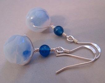 Vintage Glass Earrings, Sterling Silver, German Givre, Blue Glass Earrings, Blue Quartz Beads, Modern Earrings