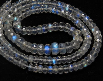 Rainbow Moonstone - AAAAA+ High Quality Micro Faceted Rondell Beads Nice Clear Full Blue Flashy Fire size - 3.5 - 7 mm - 17 inches Long
