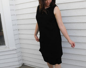 SHOP SALE 60s Black Sheath Dress Sleeveless Tiered LBD Vintage 1960s L Xl