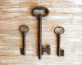 large antique keys - rare french keys - huge key - genuine old keys - 3 iron gate keys - wedding gift (M-3).