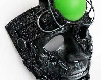 Borg, cyberpunk style light up led mask.