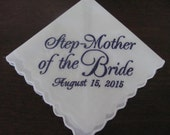 Personalized Step-Mother of the Bride machine embroidered wedding handkerchief by Sweet Sewing Jeans