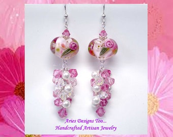 Pink & White Floral Heart Lampwork Earrings , Romance Rose Heart Lampwork Earrings