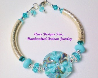 Turquoise Fantasy Floral Lampwork Bangle Bracelet, Aqua and Teal Floral Lampwork Bracelet