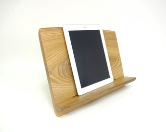 Cookbook Tablet iPad Stand Knotty Elm Wood Live Edge- Sustainable Harvest -  Timber Green Woods