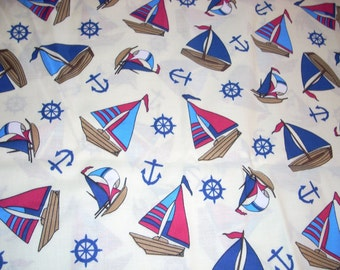 """Nautical Toss - Sailboats and anchors on cream  - Cotton fabric -  44"""" wide - sold by the yard"""