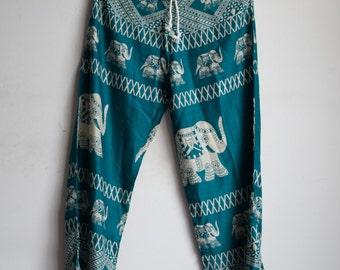 Green Elephant Printed Rayon Harem Pants /Gypsy Pants/Aladdin Pants/Genie Pants/Yoga Pants /Thai Pants