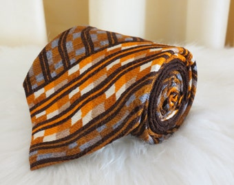 Vintage 60s 70s Mauro Firenze R. Guichard Paris Brown Orange White and Blue Wide Kipper Tie