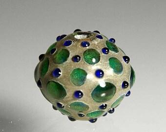 Green Dot Lampwork Bead