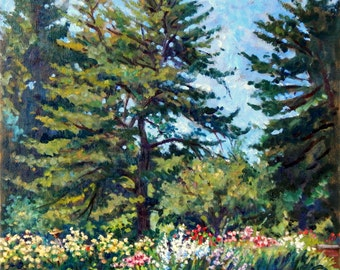 From the New York Botanical Gardens, NYC. Original Oil on Canvas, 16x16 Impressionist Plein Air Fine Art, Signed Original Oil Painting