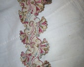 rare french antique trim made of silk sage, ivory, and rose