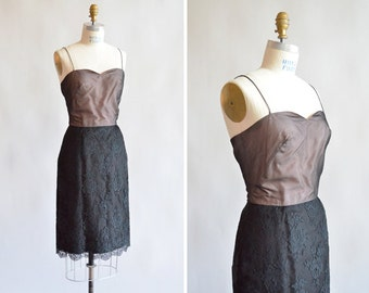 Vintage 1950s MR GILBERT lace cocktail dress