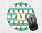 Pineapple Mouse Pad - Cute Mouse Pad - Round Mouse Pad - Monogram Mouse Pad Monogram Mousepad - Round Mousepad Office Supplies - Turquoise