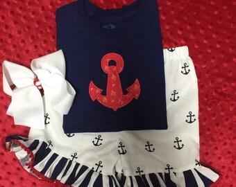 Little girls short set babies shorts anchor short set