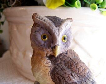 Lefton Owl on a Branch Figurine Vintage Bisque China
