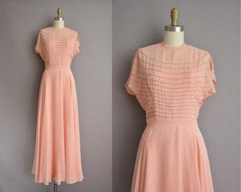 40s peach pink chiffon peach full length vintage dress / vintage 1940s dress