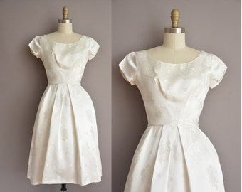 50s  white rose print vintage party dress / vintage 1950s dress