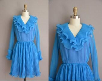 60s Lilli Diamond blue ruffle chiffon vintage dress / vintage 1960s dress