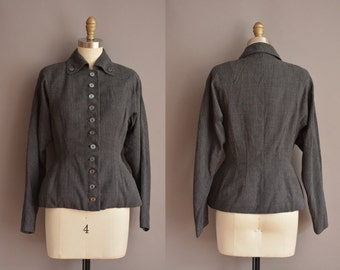 40s gray wasp waist vintage jacket / vintage 1940s jacket