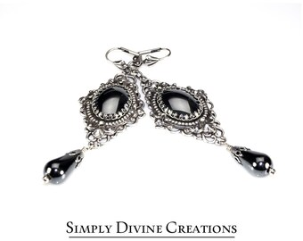 Victorian Gothic Hematite Dangle Earrings, Hematite Gemstone Earrings, Antique Silver and Hematite Earrings, Victorian Gothic  Earrings