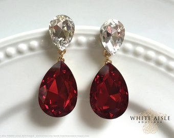 Red Crystal Wedding Earrings, Bridal Earrings, Statement Earrings, Dangle Earrings, Drop Earring, Vintage Inspired, Bridal Jewelry