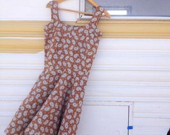 Vintage 60's 70's Paisley Mini Dress / Handmade Cotton Dress / Women M