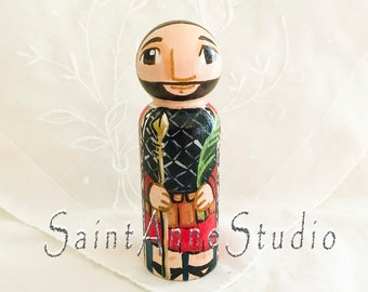 St Victor or Marseilles Catholic Saint Doll - Wooden Toy - Made to Order