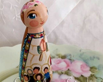 Queen of Saints Catholic Saint Doll - Wooden Toy - Made to Order