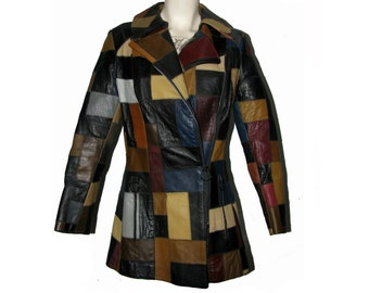 Vintage Patchwork Leather Jacket Womens 1970s Multicolor Patch Leather Scooter Coat Fits Wms Size Medium