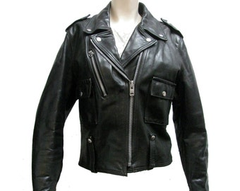 Vintage AMF Harley Davidson Cycle Queen Motorcycle Jacket 1970s Womens Black Leather Biker Jckt Wms Size 38 Made In The USA