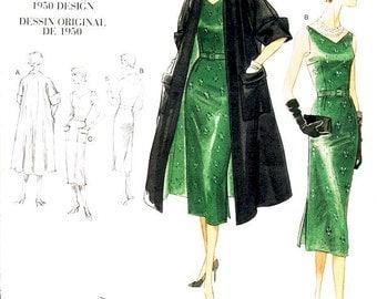 Sz 16/18/20/22 - Misses' Reversible Coat & V-Neck One Piece Dress with Belt - Vogue Vintage Model 1950 - Vogue Dress Pattern V1137