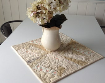 "QUILTED, FOUNDATION PIECED Table Mat,  16"" Square, Low Volume Fabrics, Shabby Chic Decor, Wonky Log Cabins, Candlemat, Kitchen Linens"