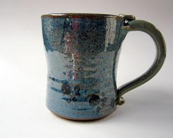Large Ceramic Coffee Mug - Stoneware Mug - Purple Blue Green - Paw Prints - Pottery Clay Mug - 18 ounces - Cup - Tankard