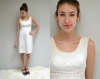 Short Boho Wedding Dress Simple Ivory Cotton
