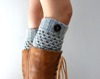 Gray Boot Cuffs // Crocheted Boot Toppers // STARRY SKY