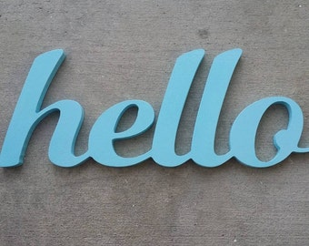 Hello Sign, Wooden Sign, Connected Wooden Letters,Welcome, Entryway, Fun Wall Art, Housewarming Gift, Dorm Room Decor, Kitchen
