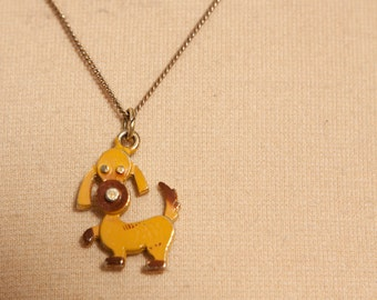 vintage 1970s girl's doggie necklace