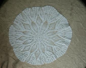 "Vintage White Crocheted Table - Topper- Doilie 16"" Pineapple Pattern"