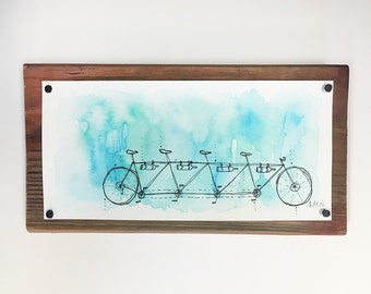 4-seater Tandem Bike Watercolor