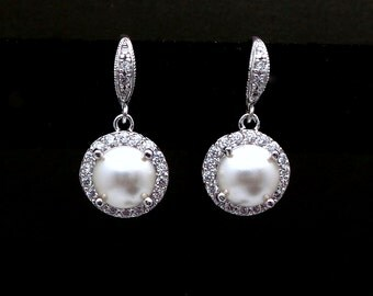 bridal wedding rhodium silver earrings half round white cream ivory swarovski pearl center halo round cubic setting drop with silver hook