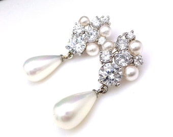 bridal earrings wedding jewelry light cream shell pearl Clear white round cubic zirconia round cz post crystal pearl bubble cluster rhodium