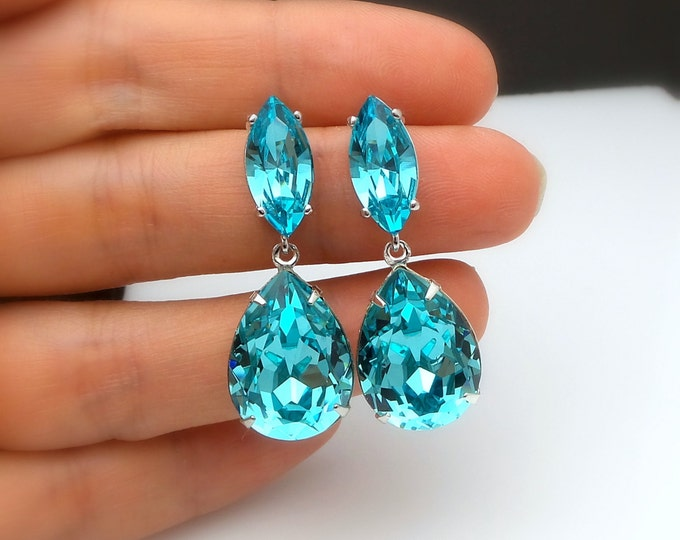 bridal jewelry bridesmaid gift wedding prom pageant party swarovski teardrop light turquoise crystal fancy drop and marquise post earrings