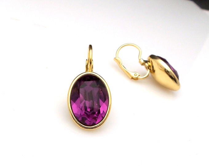 bridal earrings bridesmaid gift wedding jewelry Swarovski amethyst purple crystal oval rhinestone foiled drop with gold leverback earrings